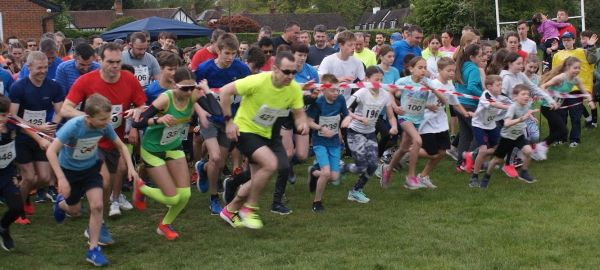 Runners at the start of the Radlett Fun Run - they're off!